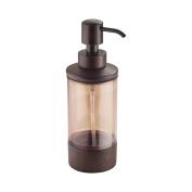 InterDesign Formbu Liquid Soap & Lotion Dispenser Pump for Kitchen or Bathroom Countertops, Amber/Espresso Bamboo