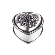 Belons Rose Carved Heart Shaped Jewellery Box Zinc Alloy Jewelery Storage Case Trinket Box for Women Girls Children