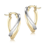 Carissima Gold 9ct 2 Colour Gold Wave Creole Earrings