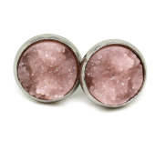 Silver Tone Stainless Steel Ear Studs with Pink Resin Drusen Stone