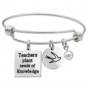 Graduation Gifts Pearl Bangle Bracelet - Teachers plant seeds of Knowledge Stainless Steel for Women Men