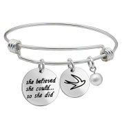 Inspirational Gifts Bangle Bracelet She Believed She Could So She Did for Women for Girls Stainless Steel