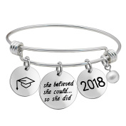 Graduation Bangle Bracelet Inspirational Gifts for Teacher Students She Could So She Did for Women Girl