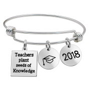 lauhonmin Bangle Bracelet Graduation Cap 2018 Pendants - Teachers plant seeds of Knowledge