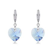 Pair of Earrings Heart Silver Plated Crystal Blue Very Light
