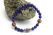 Agathe Creation – pa012014 Dordje Central Pearl Lucky Charm Bracelet Charm – Sterling Silver 925 – Handmade – Natural Lapis Lazuli Stones 6 mm in Diameter – Size