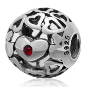 Love Heart to Heart 925 Sterling Silver Charms Floating Belived July Birthday Beads for Snake Chain Bracelets