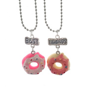 """Elegant Rose Set of 2 units Alloy Necklaces """"best friends forever and ever"""" Cake Donuts Creative Friendship Gift for Friends Girls"""