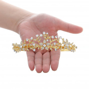 SWEETV Golden Wedding Crown Bridal Tiara Crystal Princess Headpieces Party Prom Hair Accessories