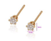 9ct 9k Yellow GOLD Plated men Ladies Lovely White Stone Stud Earrings, Various Sizes Gift""