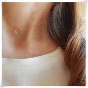 Circle ring choker, Gold choker necklace,