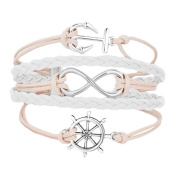 Uniqueen Infinity Anchor Rudder Brave Bracelets Leather Handmade Braided Rope Bracelets