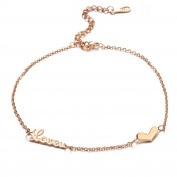 Bystar Rose Gold Plated Stainless Steel Women's LOVE Anklets Good Gift