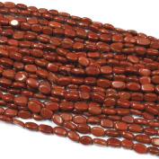 Neerupam collection Red Colour Natural Indian Jasper Gemstone Plain Oval Beads (Mani) 3 Lines Loose 33cm Strand