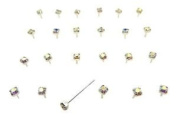 24 Sterling Silver Aurora Borealis Claw Set Jewel Nose Studs Piercing Boxed