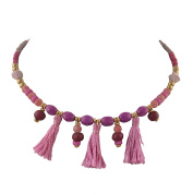 Ornamenta Fashion Beaded Torque Choker Necklace with Tassels For Girls