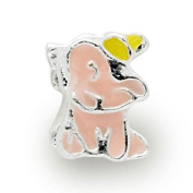 Liberty Charms Silver Plated Pink Enamel Elephant Charm Will Fit Most Charm Bracelets