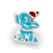 Liberty Charms Silver Plated Blue Enamel Elephant Charm Will Fit Most Charm Bracelets