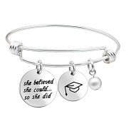 Graduation Cup Pearl Bangle Bracelet Inspirational Gifts for Teacher Students She Could So She Did
