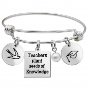 Women Men Bangle Bracelet Graduation Cup Pearl Pendants Teachers plant seeds of Knowledge Stainless Steel