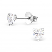 Small Heart Stud Earrings - 4mm- Real Sterling Silver with CZ Stones - Boxed