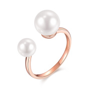 BALANSOHO Women 18k Rose Gold Plated Wedding Rings with 8mm Pearl Polished Finished, Open Size 4 to 10