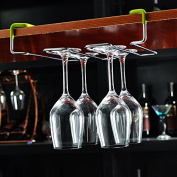 Nail Free Hanging Cup Holder Wine Cup Rack Bar Hanging Cup Wine Goblet 28.5×20.5×6.5Cm,Not Contain Wine Glass