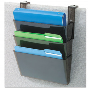 DEFLECT-O Plastic Letter Size 13 x 10cm x 18cm DocuPocket Three-Pocket Partition Set, Black