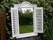 Large Shabby Chic Garden Art Louvre Shutter Door Wooden Wall Mirror 40cm x 60cm