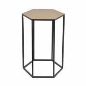 Hexagonal Top Metal Accent Table - Small - Benzara