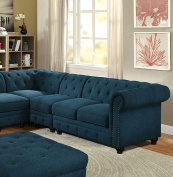 Furniture of America CM6270TL-CH Stanford Ii Dark Teal Armless Chair Not Applicable, Normal
