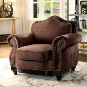 Furniture of America CM6854-CH Hetty Brown Chair Not Applicable, 100cm H