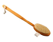 Body Bath Brush - Long Handle Natural Bristles Wooden Bath Brushes - Detachable Head - Dry Skin Brushing
