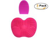 Pinkzio Silicon Makeup Brush Cleaning Mat Makeup Brush Cleaner, Cosmetic Makeup Brush Cleaning Pad Makeup Brush Egg- Dark Pink