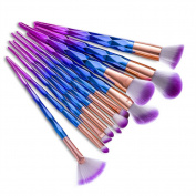 Lospu HY 12Pcs Diamond Shape Makeup Brush Set Dazzle Glitter Foundation Powder Makeup Brushes Unicorn Rainbow Makeup Eyeshadow Brush