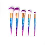 Vander Fashionable Professional Makeup Brushes Super Soft Oval Toothbrush Makeup Brush Set Foundation Brushes Contour Powder Blush Concealer Eyeliner Brush Cosmetics Tool (Unicorn 5pcs