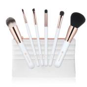 amoore 6Pcs Makeup Brushes with Case Makeup Brush Set Foundation Brush Eyeshadow Brush Travel Set