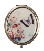 Azzaria...Antique Brass WoodLand Butterfly Oval Compact Mirror...Diameter