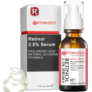 Retinol Serum 2.5% with Hyaluronic Acid, Glycerin, Vitamin E - Reduce Wrinkles, Fine Lines, Even Skin Tone, Sun Spots, Age Spots - Boost Collagen Production 30ml - optimised LAB Guaranteed