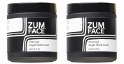 Zum Charcoal Sugar Facial Scrub (Pack of 2) with Cane Sugar, Jojoba Oil, Coconut Oil, Olive Oil, Caster Oil, Essential Oils and Activated Charcoal, 120ml