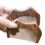 Skyflying 2PCS Travel Happiness Cat Carrying Beard Hair Sandalwood Wooden Smoother Gift Comb