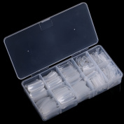 Yimart 500Pcs Clear Dual Nail System Forms UV Gel Acrylic Nails Mould with Box