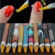 MOPRETTY Durable Gem Crystal Rhinestones Picker Pencil Nail Art Craft Tool Wax Pen 5Pcs