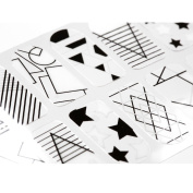 BMC 20pc Shape Shifters Negative Space Nail Wraps - Modern Geometric Stars Dots Abstract Pop Art Designs