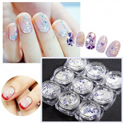 Nail Art Tips Ultra Thin Sparkle Iridescent Glitter Sequins Flakes 12 Patterns DIY Decoration