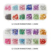 12 Colours Nail Art Decorations Nail Stone Gem Rhinestones Flatback 1.5mm + 2 mm 7200pcs by GADGETS ENTREPOT