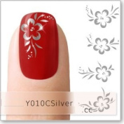 Nicedeco Beautiful & Fun & Colourful & Fashion Nail Stickers/Tattoo/Decal Water Transfer Stickers Silver Hibiscus Flower & Leaves