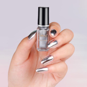 6ml+6ml Mirror Nail Polish Plating Silver Paste Metal Colour Mirror Silver Base Coat for Nail Art+Base Oil