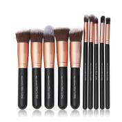 QITAO® Pinceaux de maquillage 10PCs Makeup Brush Set Fond de teint professionnel Eyeliner Shadow Powder Pinceaux de maquillage - Rose Or