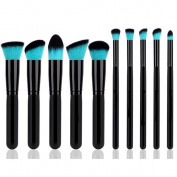 QITAO® 10PCS Kabuki Brush Set, Soft Foundation Bronzer Eyeshadow Cosmetic Brushes Blue Hair